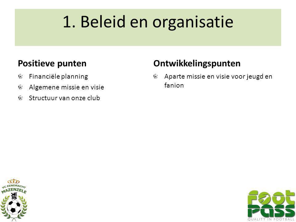 1. Beleid en organisatie Positieve punten Financiële planning Algemene missie en visie Structuur van onze club Ontwikkelingspunten Aparte missie en vi