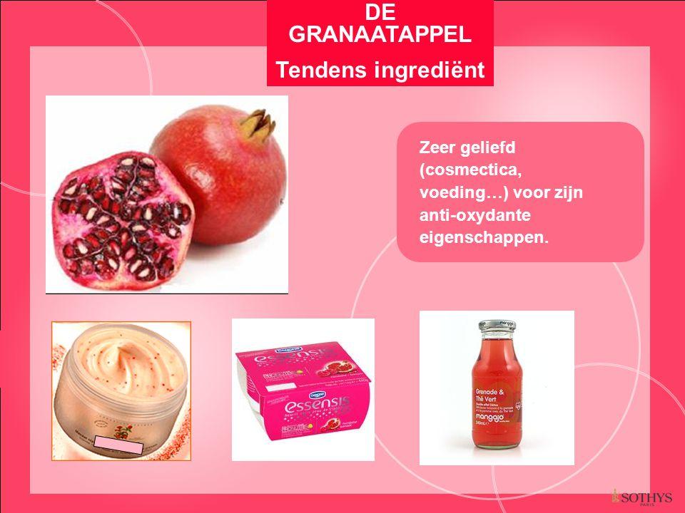 Zeer geliefd (cosmectica, voeding…) voor zijn anti-oxydante eigenschappen. DE GRANAATAPPEL Tendens ingrediënt