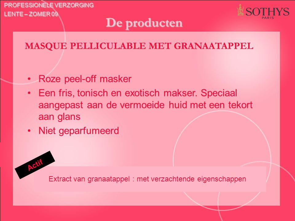 De producten Actif MASQUE PELLICULABLE MET GRANAATAPPEL Roze peel-off masker Een fris, tonisch en exotisch makser. Speciaal aangepast aan de vermoeide