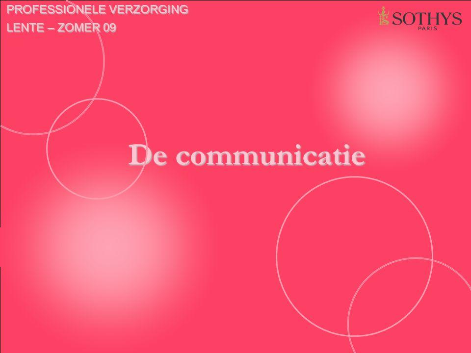 De communicatie PROFESSIONELE VERZORGING LENTE – ZOMER 09