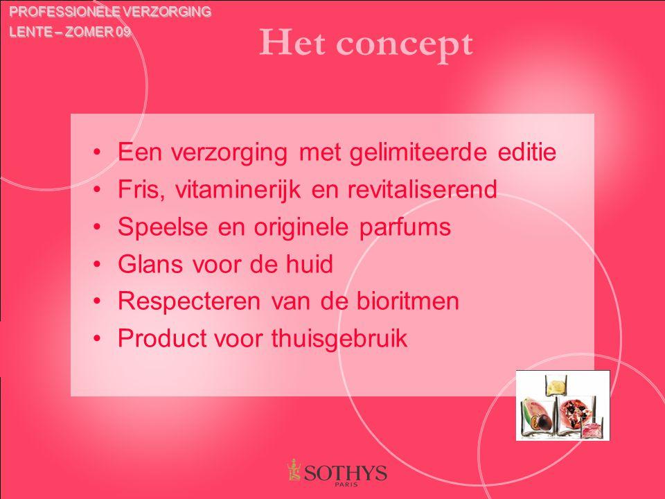 Het concept Een verzorging met gelimiteerde editie Fris, vitaminerijk en revitaliserend Speelse en originele parfums Glans voor de huid Respecteren va