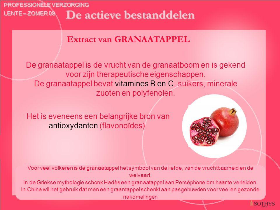 De actieve bestanddelen Extract van GRANAATAPPEL Voor veel volkeren is de granaatappel het symbool van de liefde, van de vruchtbaarheid en de welvaart