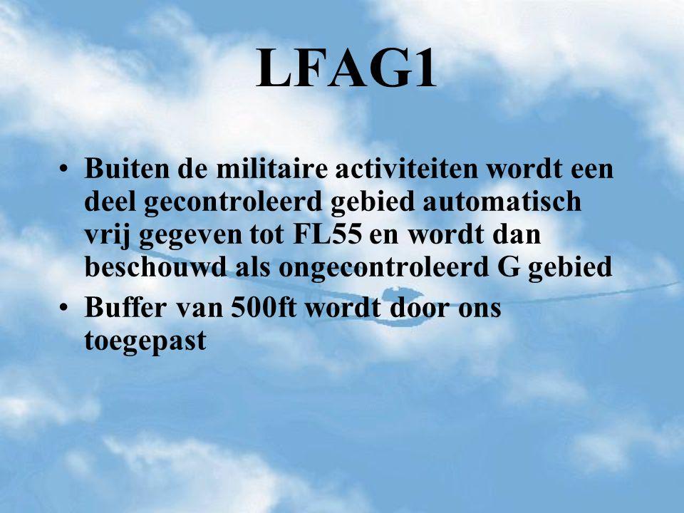 LFAG1 Buiten de militaire activiteiten wordt een deel gecontroleerd gebied automatisch vrij gegeven tot FL55 en wordt dan beschouwd als ongecontroleer