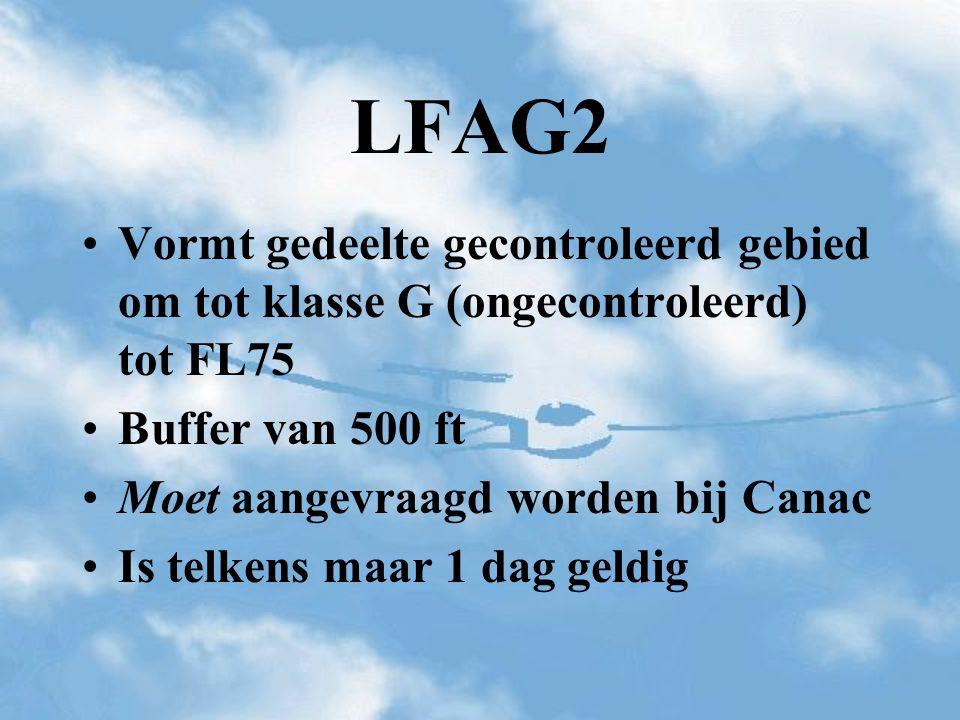 Vormt gedeelte gecontroleerd gebied om tot klasse G (ongecontroleerd) tot FL75 Buffer van 500 ft Moet aangevraagd worden bij Canac Is telkens maar 1 d