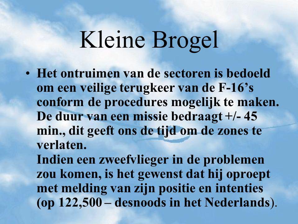 Kleine Brogel Het ontruimen van de sectoren is bedoeld om een veilige terugkeer van de F-16's conform de procedures mogelijk te maken. De duur van een