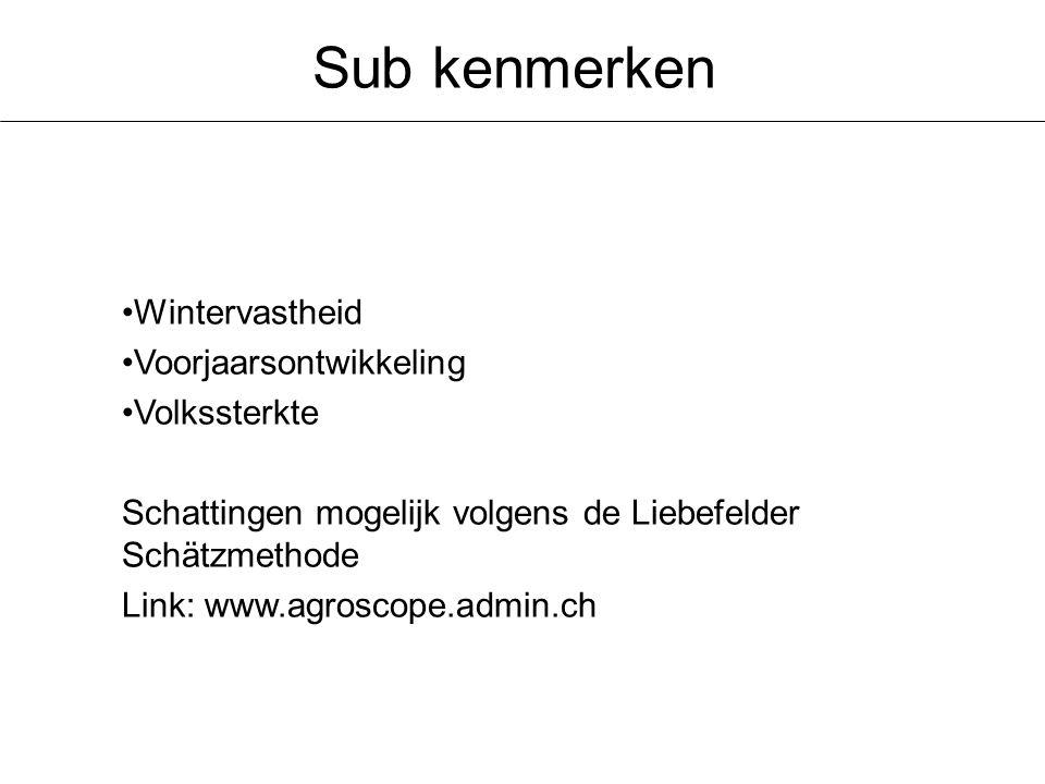 Sub kenmerken Wintervastheid Voorjaarsontwikkeling Volkssterkte Schattingen mogelijk volgens de Liebefelder Schätzmethode Link: www.agroscope.admin.ch