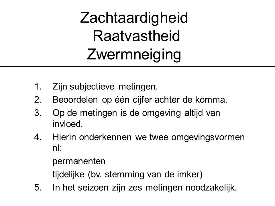 Zachtaardigheid Raatvastheid Zwermneiging 1.Zijn subjectieve metingen.