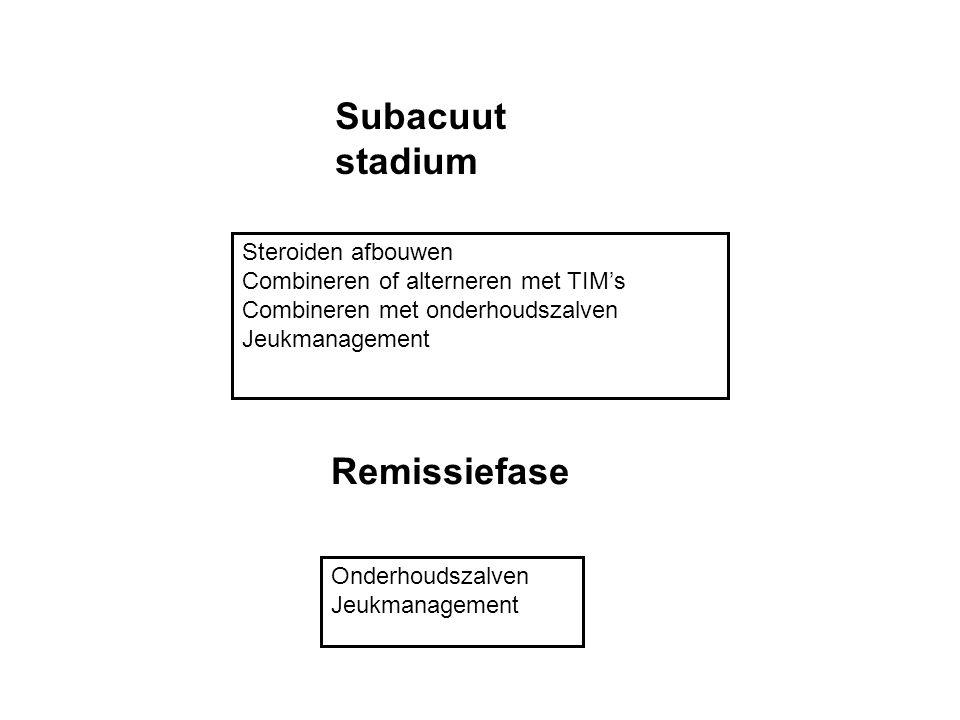 Subacuut stadium Steroiden afbouwen Combineren of alterneren met TIM's Combineren met onderhoudszalven Jeukmanagement Remissiefase Onderhoudszalven Je
