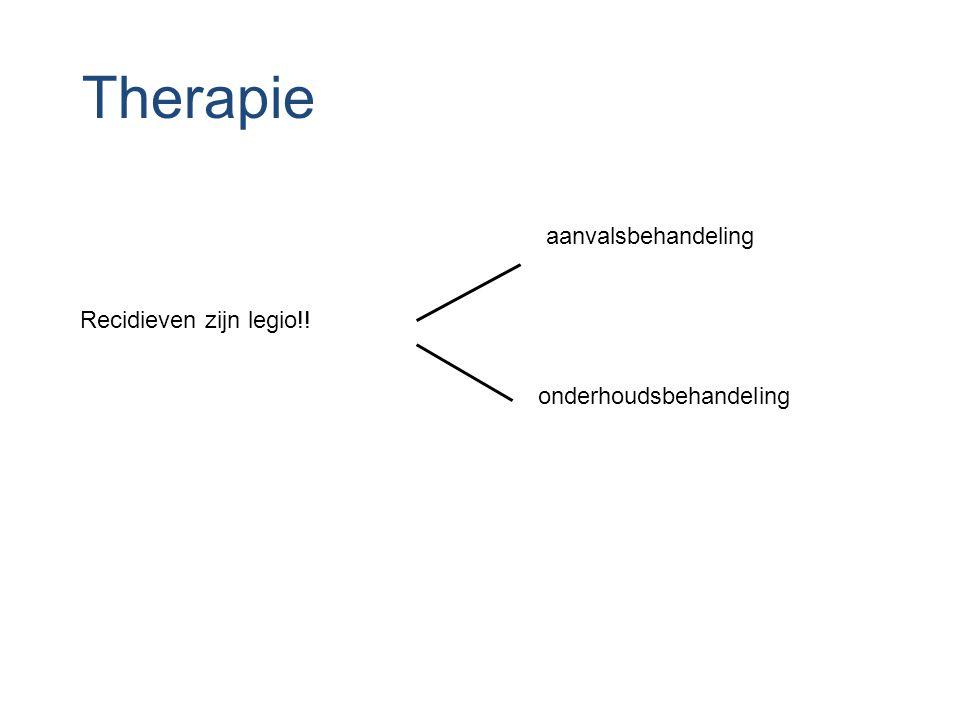 Therapie aanvalsbehandeling onderhoudsbehandeling Recidieven zijn legio!!