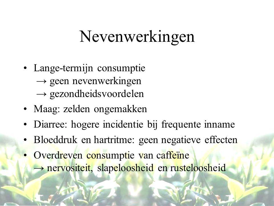 Nevenwerkingen Lange-termijn consumptie → geen nevenwerkingen → gezondheidsvoordelen Maag: zelden ongemakken Diarree: hogere incidentie bij frequente