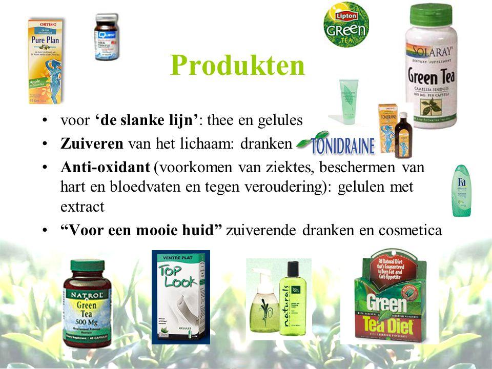 Produkten voor 'de slanke lijn': thee en gelules Zuiveren van het lichaam: dranken Anti-oxidant (voorkomen van ziektes, beschermen van hart en bloedva