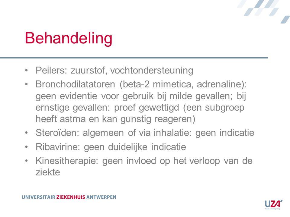 Behandeling Peilers: zuurstof, vochtondersteuning Bronchodilatatoren (beta-2 mimetica, adrenaline): geen evidentie voor gebruik bij milde gevallen; bi