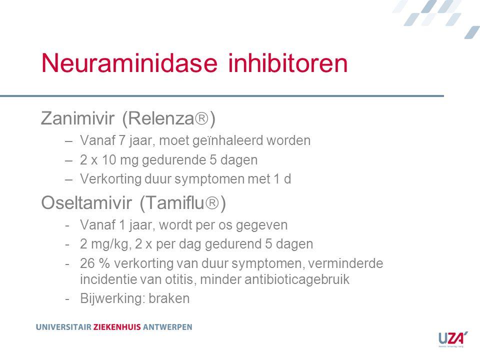 Neuraminidase inhibitoren Zanimivir (Relenza  ) –Vanaf 7 jaar, moet geïnhaleerd worden –2 x 10 mg gedurende 5 dagen –Verkorting duur symptomen met 1