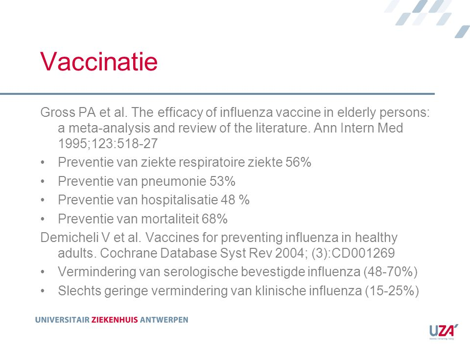 Vaccinatie Gross PA et al. The efficacy of influenza vaccine in elderly persons: a meta-analysis and review of the literature. Ann Intern Med 1995;123