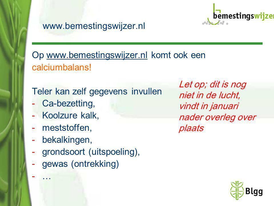 Op www.bemestingswijzer.nl komt ook eenwww.bemestingswijzer.nl calciumbalans! Teler kan zelf gegevens invullen -Ca-bezetting, -Koolzure kalk, -meststo