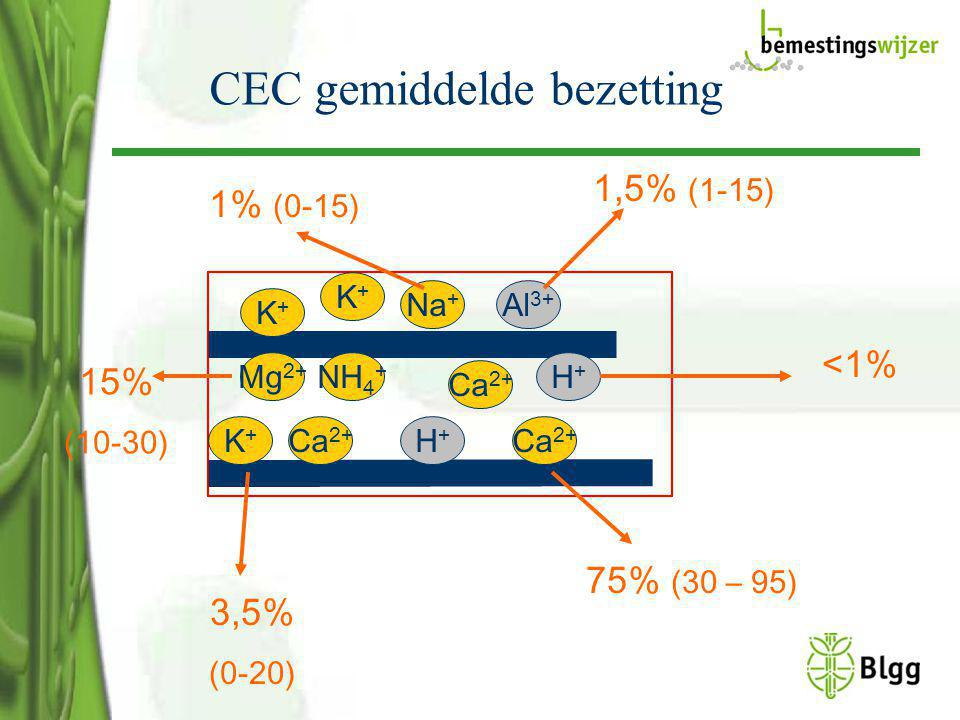 CEC gemiddelde bezetting. K+K+ K+K+ NH 4 + Mg 2+ K+K+ H+H+ Ca 2+ Na + Al 3+ Ca 2+ H+H+ 1% (0-15) 1,5% (1-15) <1% 3,5% (0-20) 75% (30 – 95) 15% (10-30)