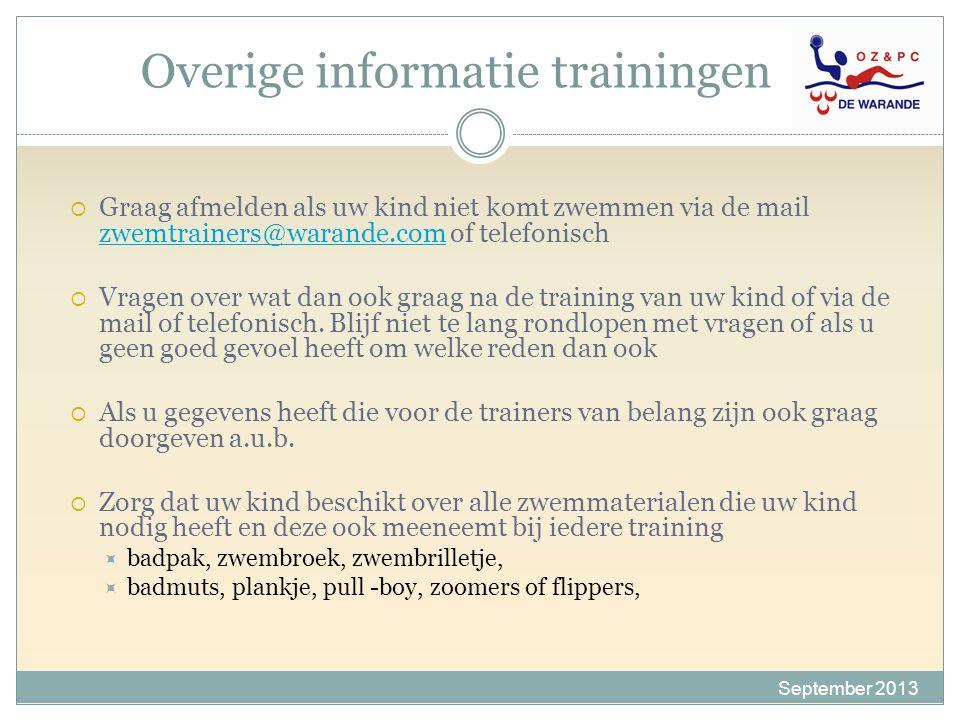 Overige informatie trainingen  Graag afmelden als uw kind niet komt zwemmen via de mail zwemtrainers@warande.com of telefonisch zwemtrainers@warande.