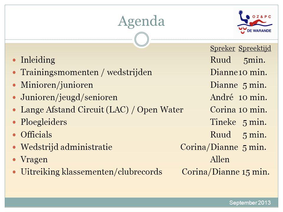 Agenda September 2013 SprekerSpreektijd InleidingRuud 5min. Trainingsmomenten / wedstrijden Dianne10 min. Minioren/juniorenDianne 5 min. Junioren/jeug