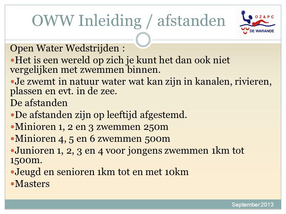 OWW Inleiding / afstanden September 2013 Open Water Wedstrijden : Het is een wereld op zich je kunt het dan ook niet vergelijken met zwemmen binnen. J