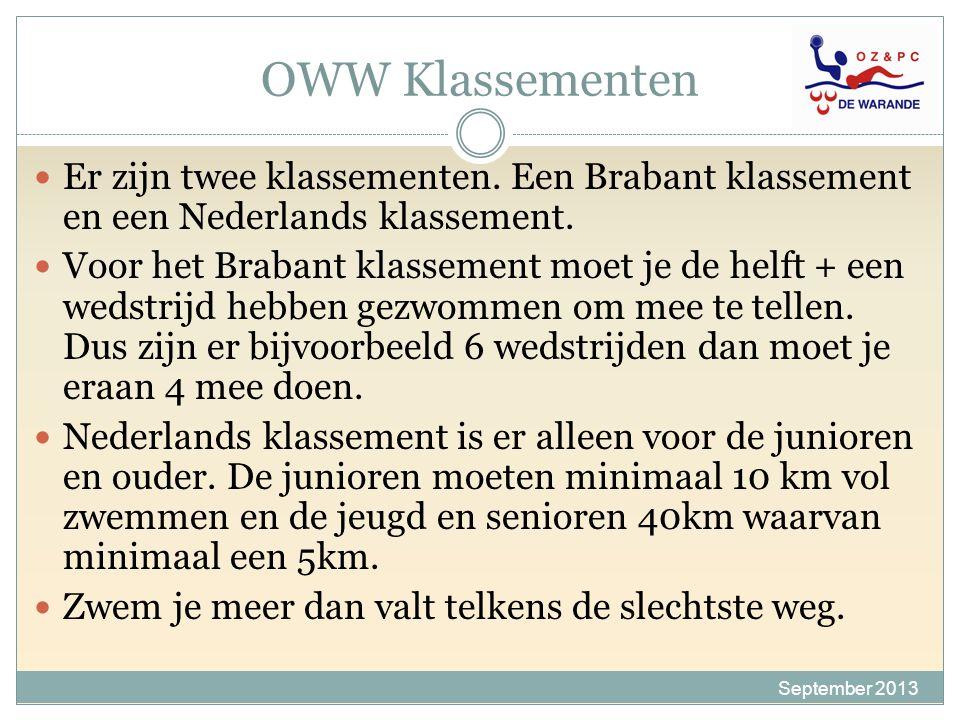 OWW Klassementen September 2013 Er zijn twee klassementen. Een Brabant klassement en een Nederlands klassement. Voor het Brabant klassement moet je de