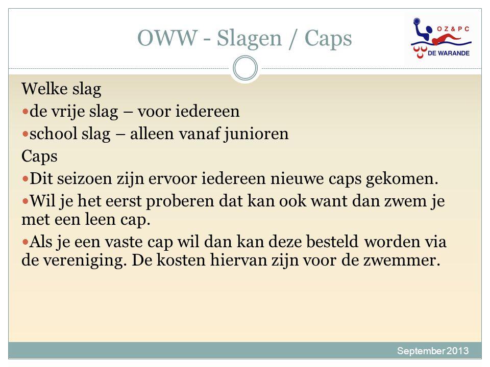 OWW - Slagen / Caps Welke slag de vrije slag – voor iedereen school slag – alleen vanaf junioren Caps Dit seizoen zijn ervoor iedereen nieuwe caps gek