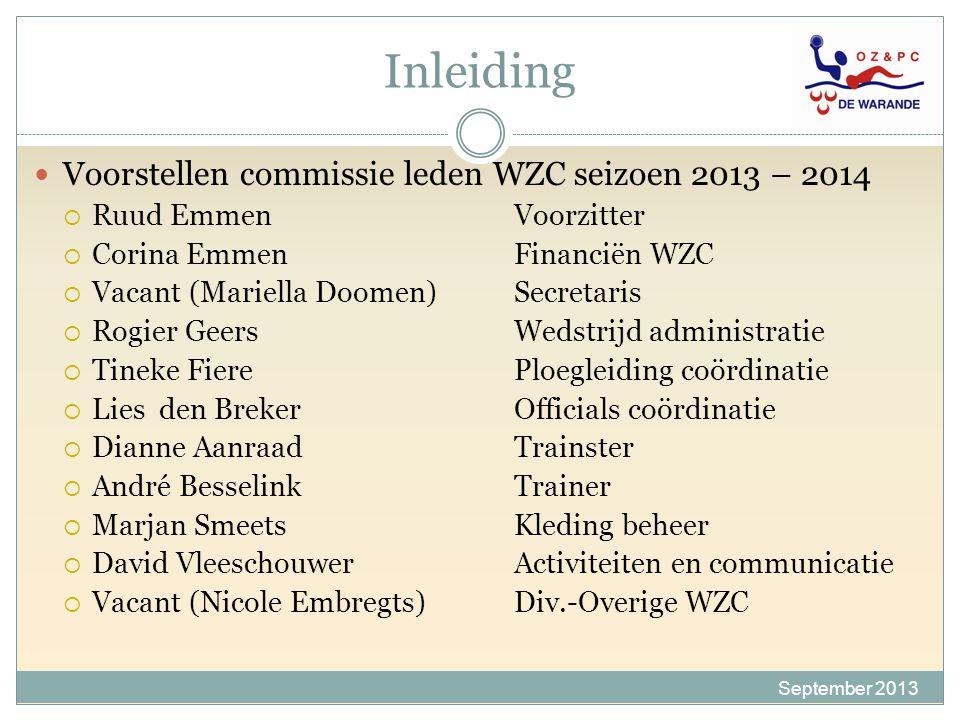 Inleiding September 2013 Voorstellen commissie leden WZC seizoen 2013 – 2014  Ruud EmmenVoorzitter  Corina EmmenFinanciën WZC  Vacant (Mariella Doo