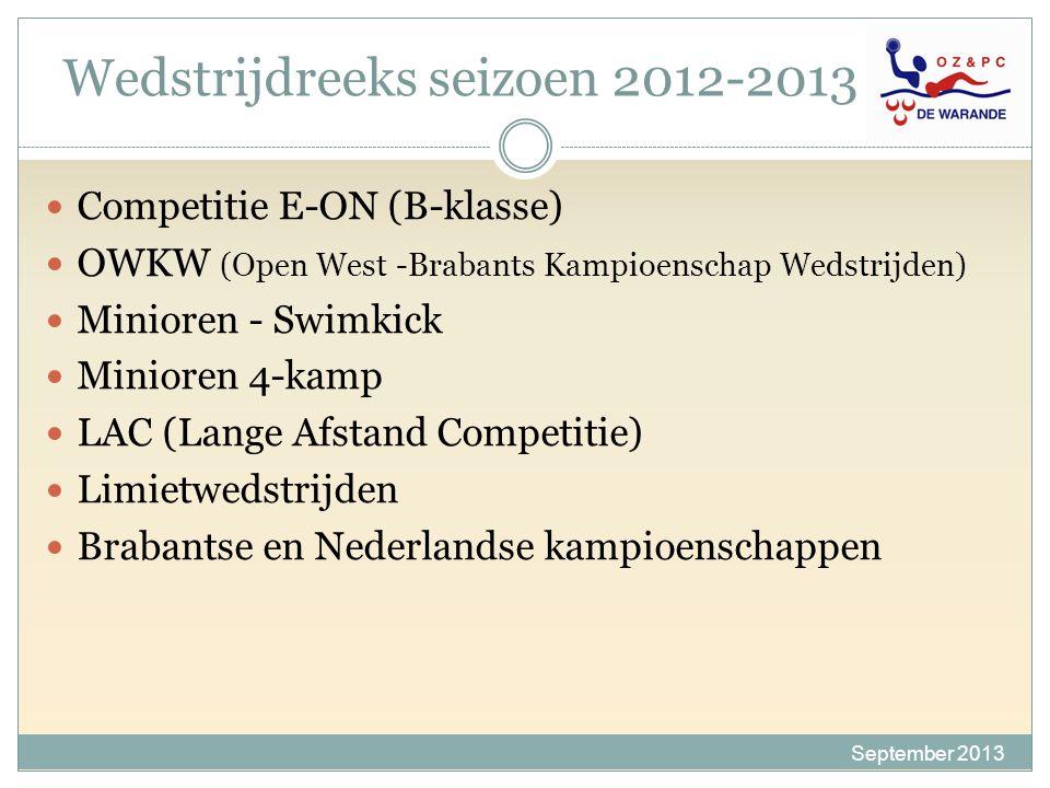 Wedstrijdreeks seizoen 2012-2013 12 Competitie E-ON (B-klasse) OWKW (Open West -Brabants Kampioenschap Wedstrijden) Minioren - Swimkick Minioren 4-kam
