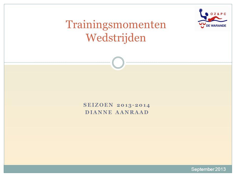 SEIZOEN 2013-2014 DIANNE AANRAAD Trainingsmomenten Wedstrijden September 2013