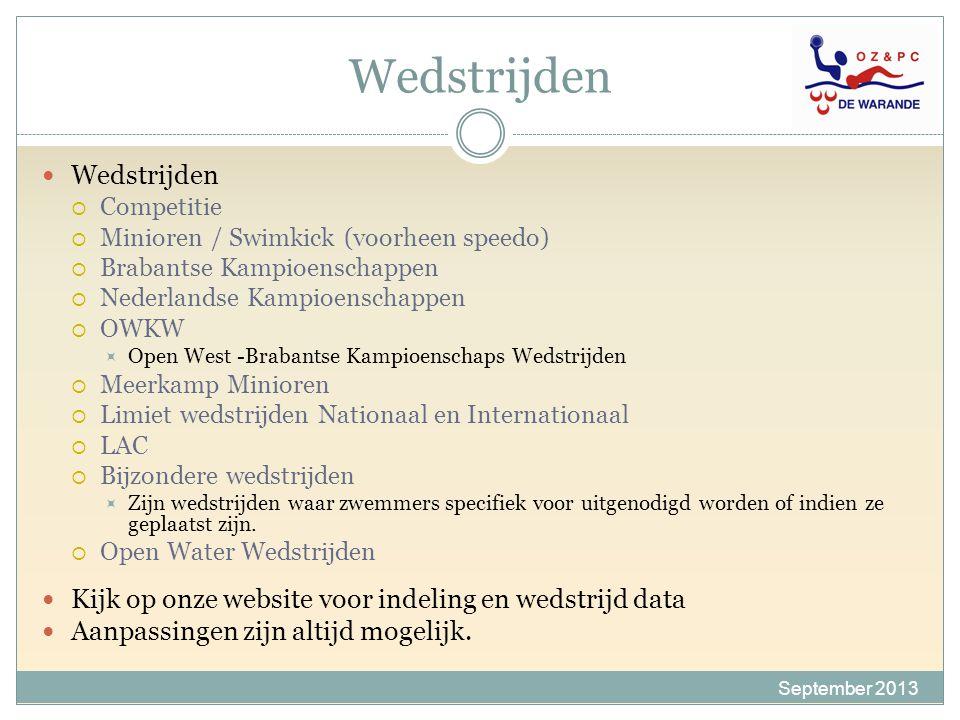 Wedstrijden September 2013 Wedstrijden  Competitie  Minioren / Swimkick (voorheen speedo)  Brabantse Kampioenschappen  Nederlandse Kampioenschappe