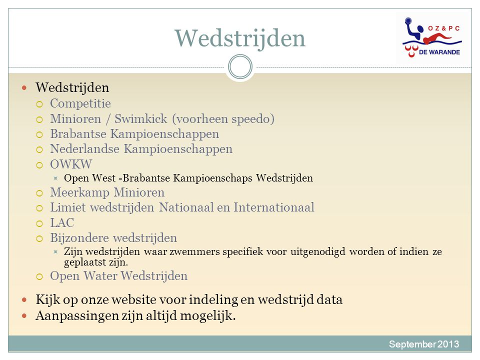 SEIZOEN 2013-2014 DIANNE AANRAAD Minioren / Swimkick September 2013