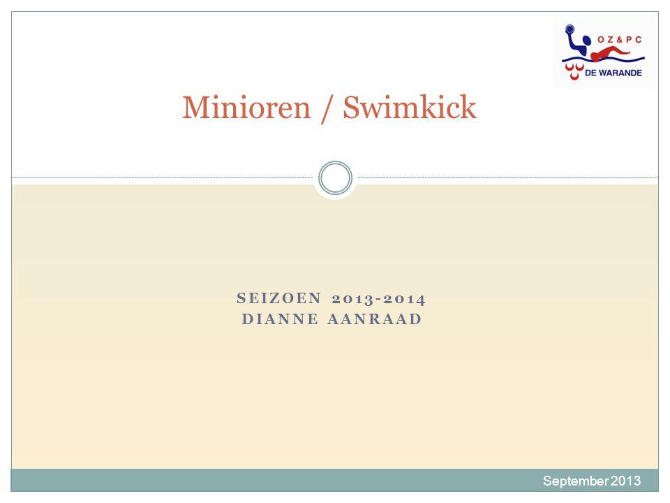 Wedstrijden 2013-2014 September 2013  Minioren- Swimkick wedstrijden voor minioren 3-4-5-6 en junioren 1- 2.