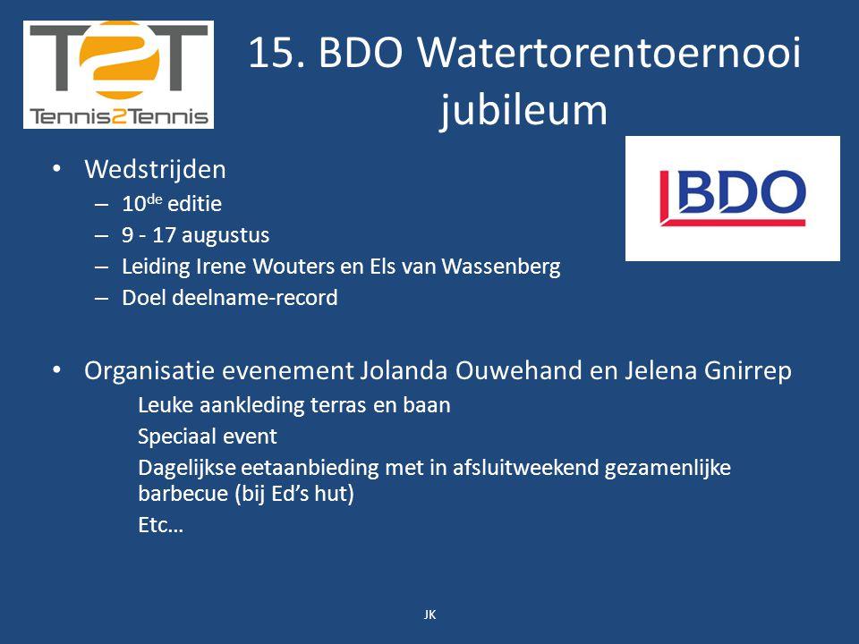15. BDO Watertorentoernooi jubileum Wedstrijden – 10 de editie – 9 - 17 augustus – Leiding Irene Wouters en Els van Wassenberg – Doel deelname-record