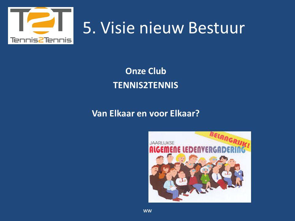 Onze Club TENNIS2TENNIS Van Elkaar en voor Elkaar? WW 5. Visie nieuw Bestuur
