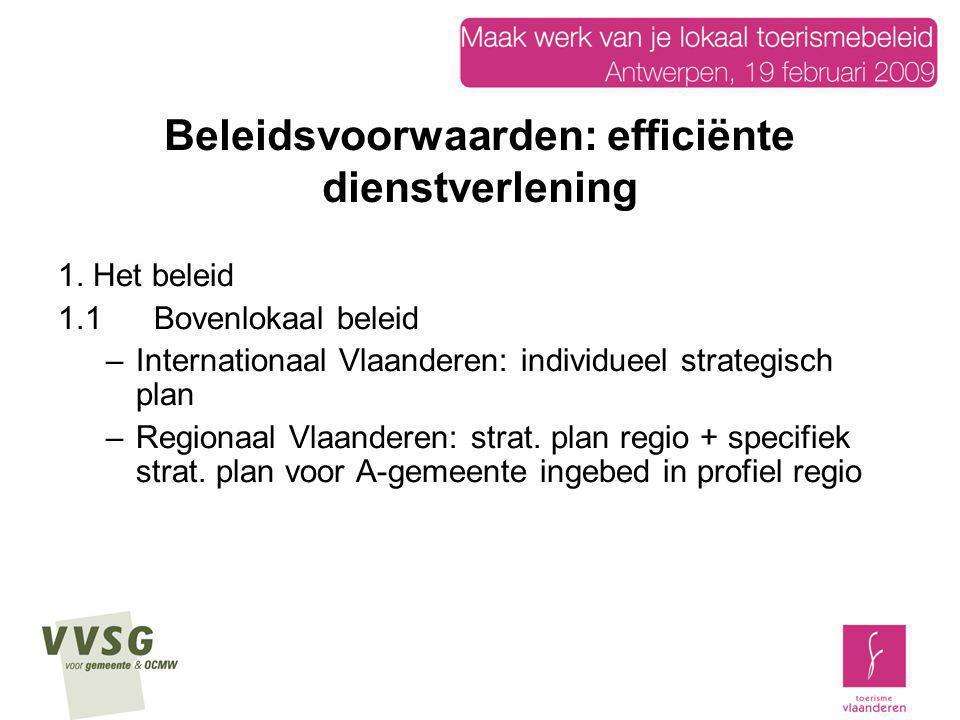 Beleidsvoorwaarden: efficiënte dienstverlening 1. Het beleid 1.1Bovenlokaal beleid –Internationaal Vlaanderen: individueel strategisch plan –Regionaal