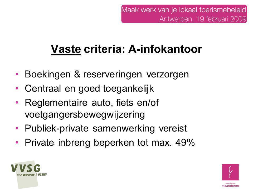 Vaste criteria: A-infokantoor Boekingen & reserveringen verzorgen Centraal en goed toegankelijk Reglementaire auto, fiets en/of voetgangersbewegwijzer