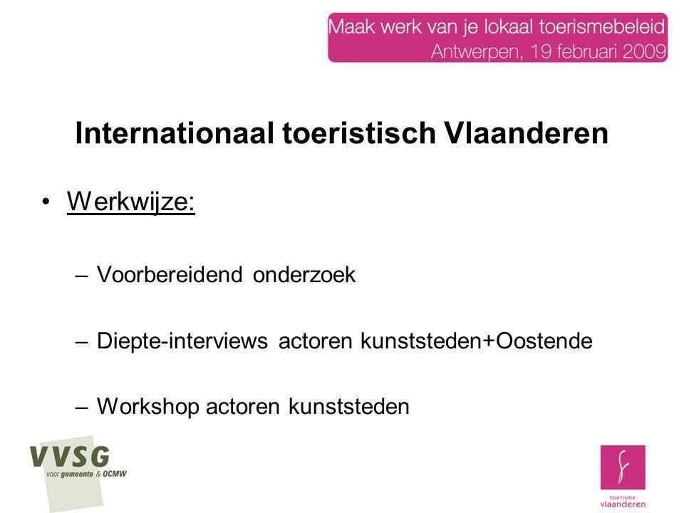 Internationaal toeristisch Vlaanderen Werkwijze: –Voorbereidend onderzoek –Diepte-interviews actoren kunststeden+Oostende –Workshop actoren kunststede