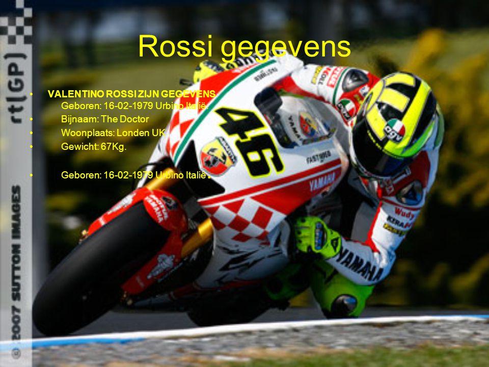 Rossi gegevens VALENTINO ROSSI ZIJN GEGEVENS Geboren: 16-02-1979 Urbino Italië. Bijnaam: The Doctor Woonplaats: Londen UK Gewicht: 67Kg. Geboren: 16-0