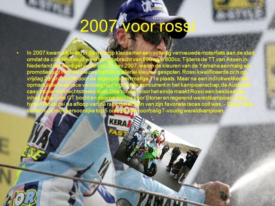 2007 voor rossi In 2007 kwam elk team in de motogp klasse met een volledig vernieuwde motorfiets aan de start omdat de cilinderinhoud werd teruggebrac