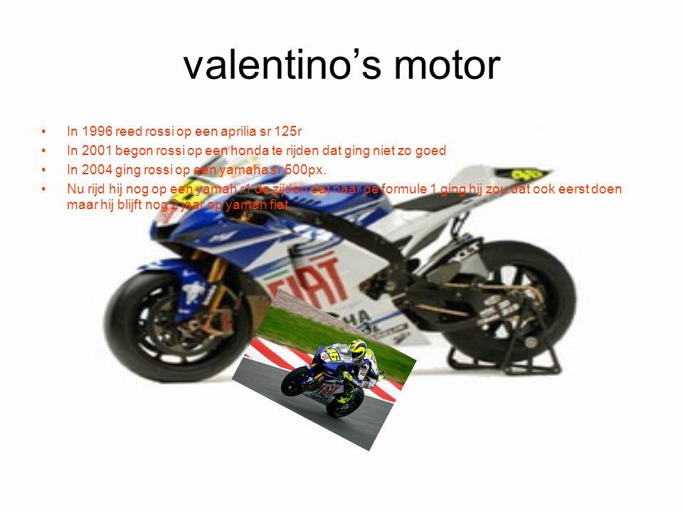 valentino's motor In 1996 reed rossi op een aprilia sr 125r In 2001 begon rossi op een honda te rijden dat ging niet zo goed In 2004 ging rossi op een