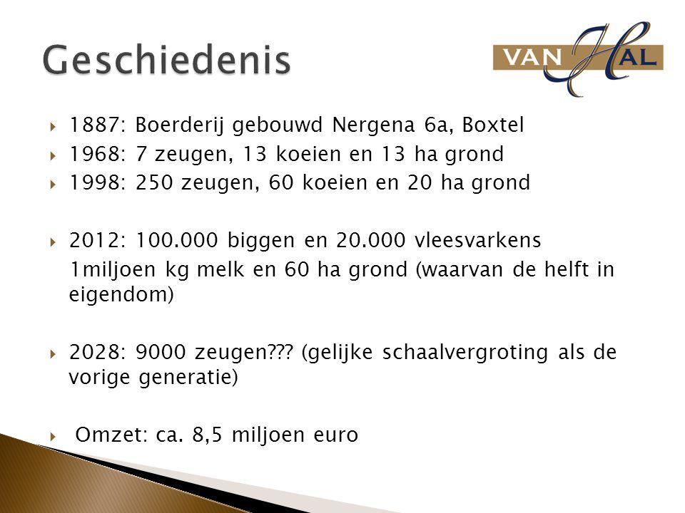  1887: Boerderij gebouwd Nergena 6a, Boxtel  1968: 7 zeugen, 13 koeien en 13 ha grond  1998: 250 zeugen, 60 koeien en 20 ha grond  2012: 100.000 b