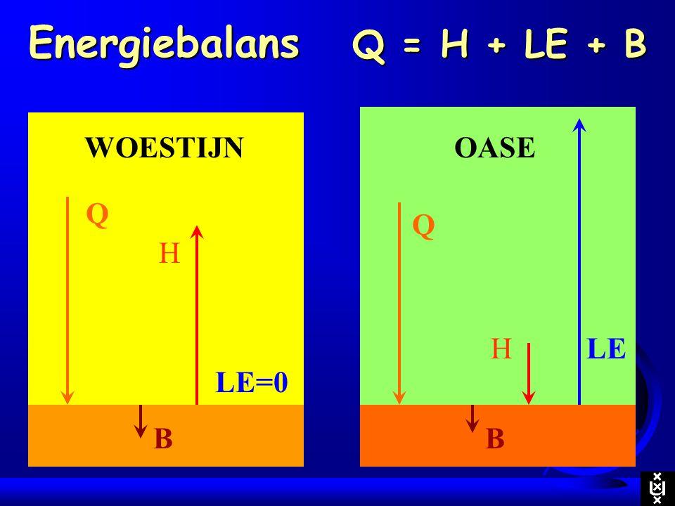 Energiebalans Q = H + LE + B Q LEH B OASE Q LE=0 H B WOESTIJN