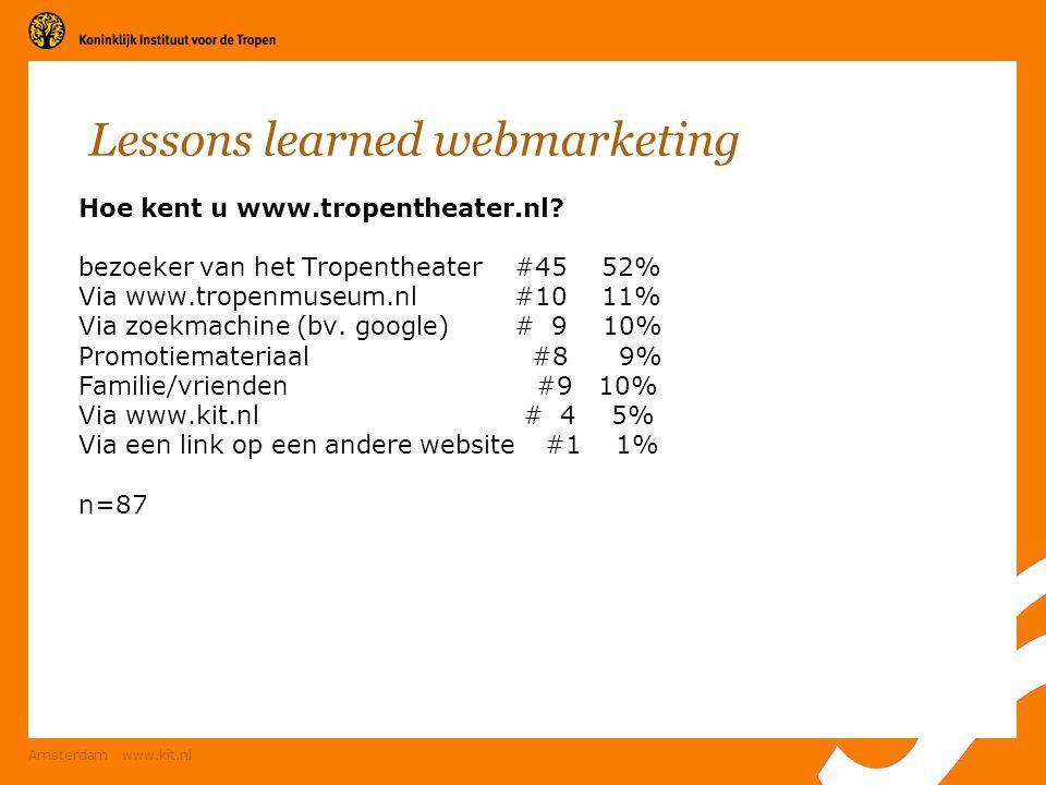 Amsterdam www.kit.nl Lessons learned webmarketing Hoe kent u www.tropentheater.nl? bezoeker van het Tropentheater#45 52% Via www.tropenmuseum.nl #10 1