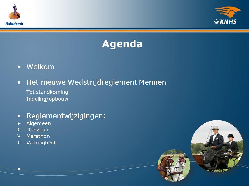 Agenda Welkom Het nieuwe Wedstrijdreglement Mennen Tot standkoming Indeling/opbouw Reglementwijzigingen:  Algemeen  Dressuur  Marathon  Vaardighei