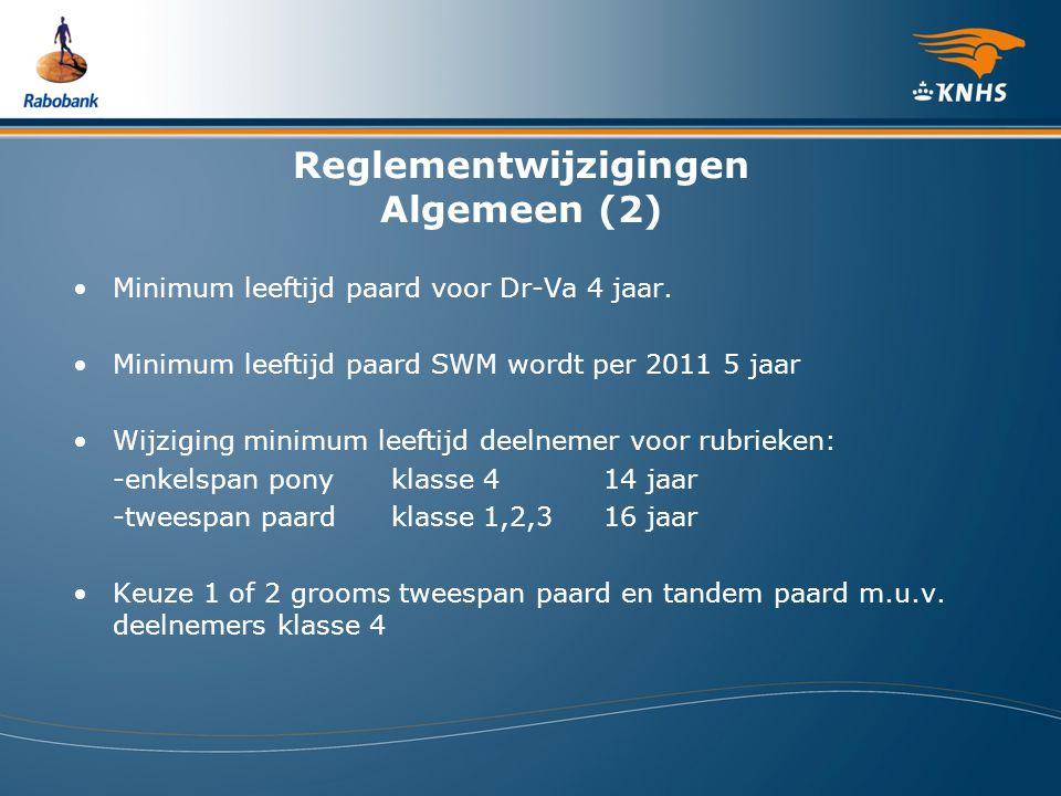 Reglementwijzigingen Algemeen (2) Minimum leeftijd paard voor Dr-Va 4 jaar. Minimum leeftijd paard SWM wordt per 2011 5 jaar Wijziging minimum leeftij