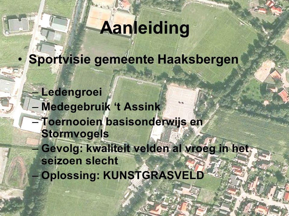 Aanleiding Sportvisie gemeente Haaksbergen –Ledengroei –Medegebruik 't Assink –Toernooien basisonderwijs en Stormvogels –Gevolg: kwaliteit velden al v