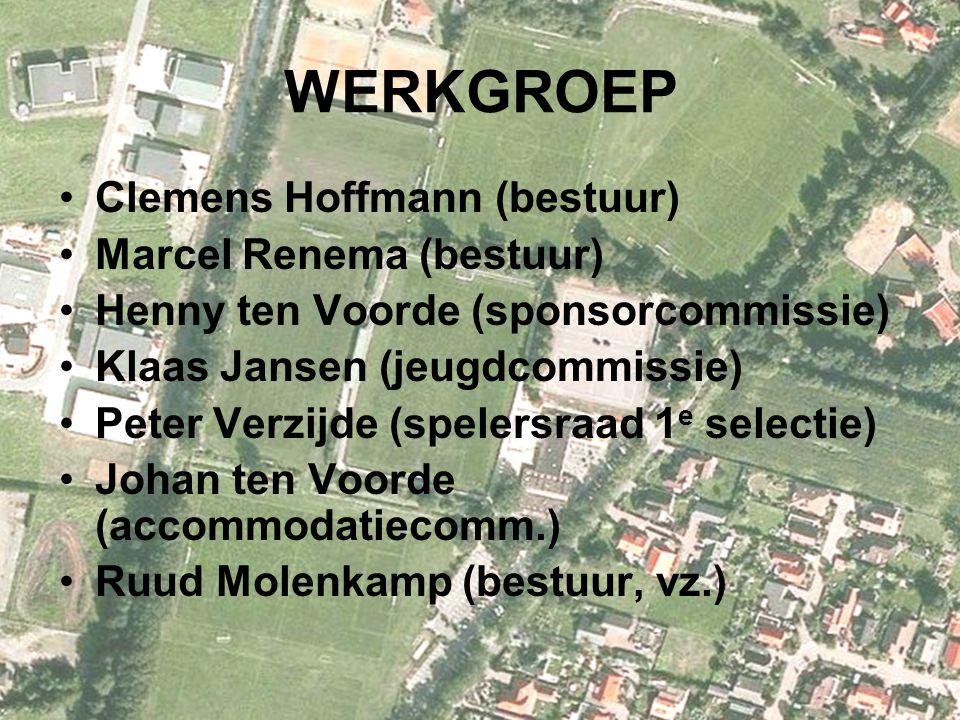 WERKGROEP Clemens Hoffmann (bestuur) Marcel Renema (bestuur) Henny ten Voorde (sponsorcommissie) Klaas Jansen (jeugdcommissie) Peter Verzijde (spelersraad 1 e selectie) Johan ten Voorde (accommodatiecomm.) Ruud Molenkamp (bestuur, vz.)