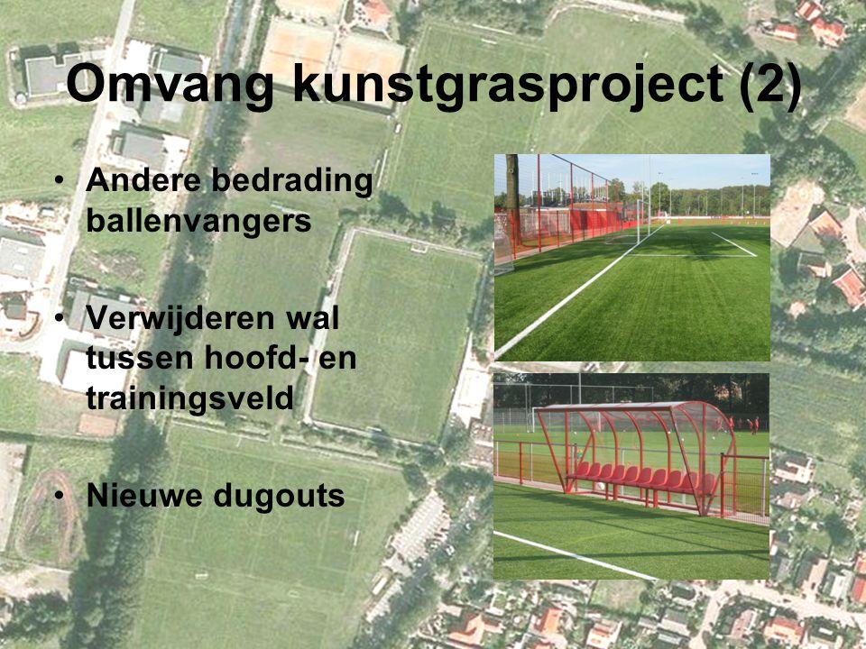 Omvang kunstgrasproject (2) Andere bedrading ballenvangers Verwijderen wal tussen hoofd- en trainingsveld Nieuwe dugouts