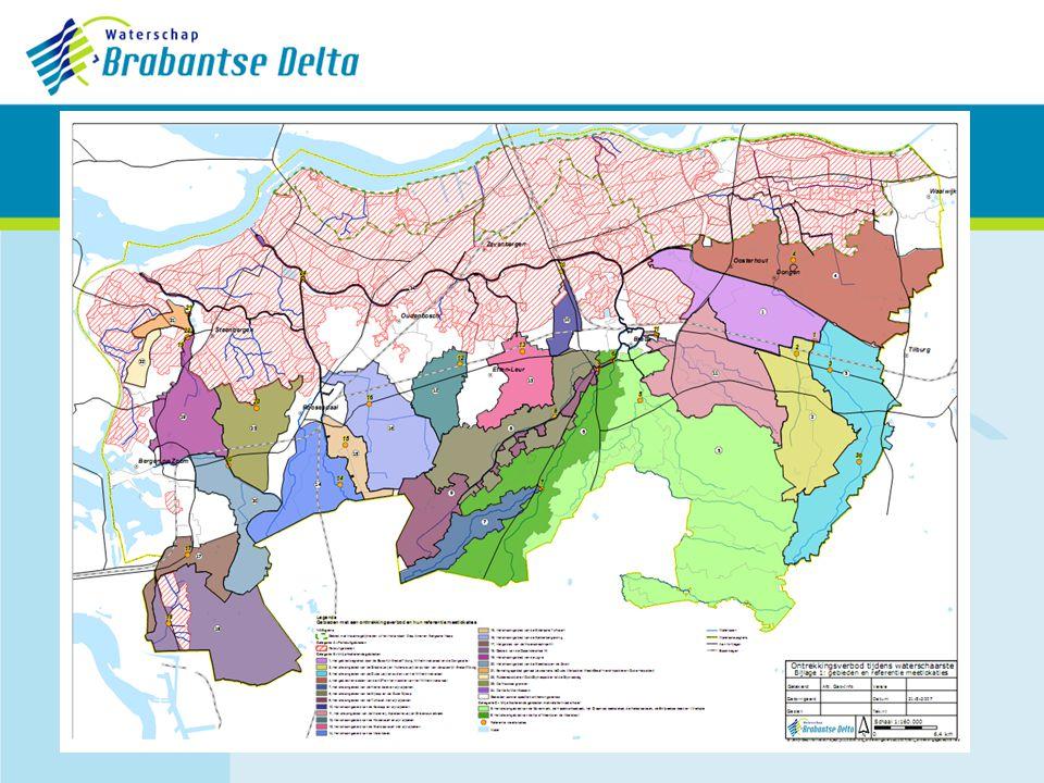 Categorie APeilbesluitgebieden Twee normen 1.< ZPonttrekkingsverbod grasland 2.< ZP – 0,10 malgeheel onttrekkingsverbod Meetlocaties: belangrijkste waterafvoerende kunstwerk