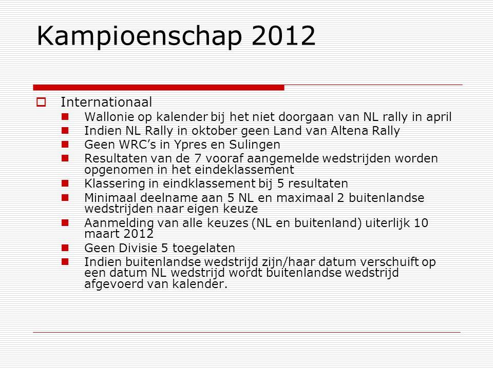 Kampioenschap 2012  Internationaal Wallonie op kalender bij het niet doorgaan van NL rally in april Indien NL Rally in oktober geen Land van Altena Rally Geen WRC's in Ypres en Sulingen Resultaten van de 7 vooraf aangemelde wedstrijden worden opgenomen in het eindeklassement Klassering in eindklassement bij 5 resultaten Minimaal deelname aan 5 NL en maximaal 2 buitenlandse wedstrijden naar eigen keuze Aanmelding van alle keuzes (NL en buitenland) uiterlijk 10 maart 2012 Geen Divisie 5 toegelaten Indien buitenlandse wedstrijd zijn/haar datum verschuift op een datum NL wedstrijd wordt buitenlandse wedstrijd afgevoerd van kalender.