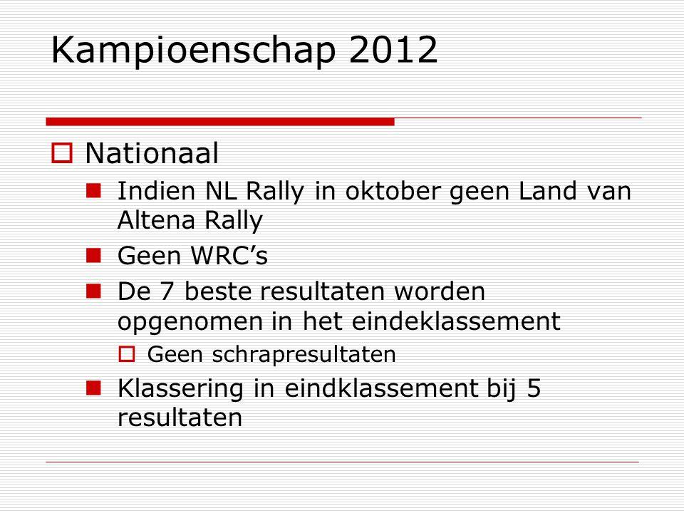 Kampioenschap 2012  Nationaal Indien NL Rally in oktober geen Land van Altena Rally Geen WRC's De 7 beste resultaten worden opgenomen in het eindeklassement  Geen schrapresultaten Klassering in eindklassement bij 5 resultaten